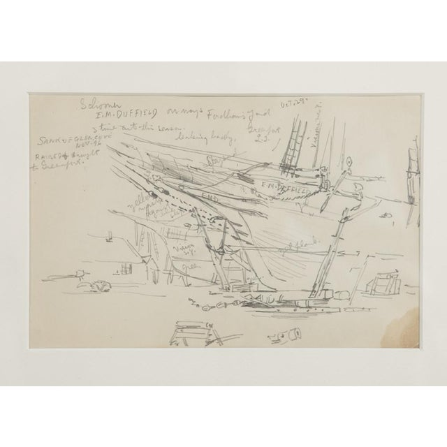 "Illustration Reynolds Beal ""Sail Boats and Fishing Boats"" Pencil Sketches - a Pair For Sale - Image 3 of 13"