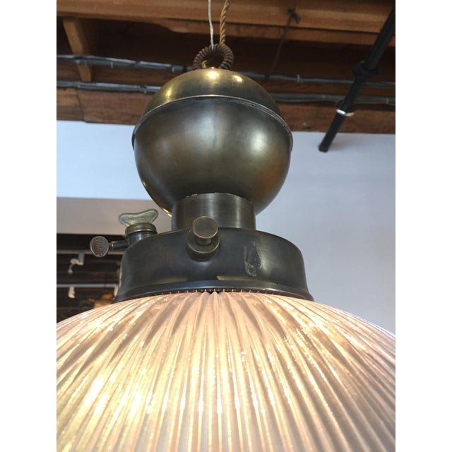 Industrial Brass & Glass Holophane Pendant For Sale - Image 3 of 4