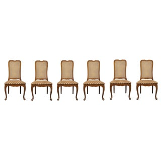 Late 20th Century Georgetown Galleries Solid Cherry Cane Back Side Chairs- Set of 6 For Sale
