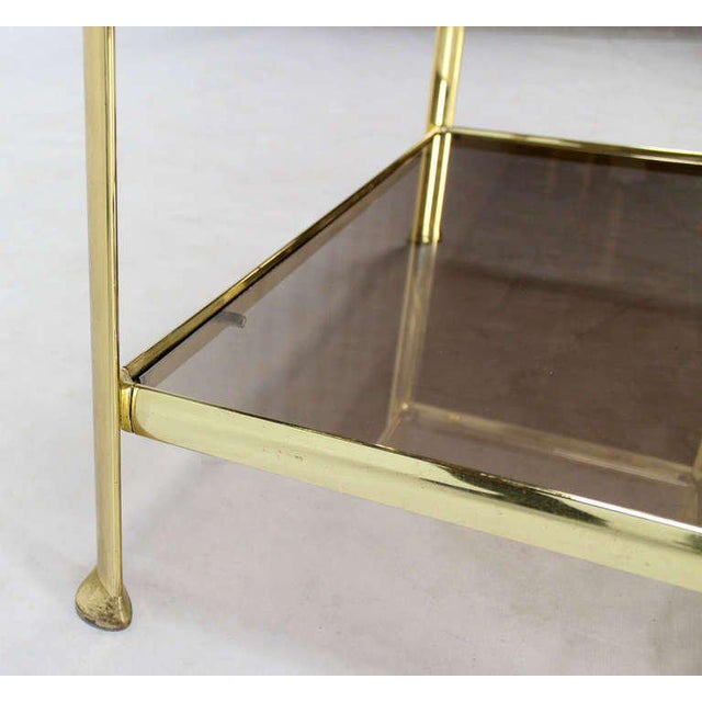 Mid Century Modern Five Tier Brass and Smoked Glass Etagere Shelving Unit For Sale In New York - Image 6 of 10