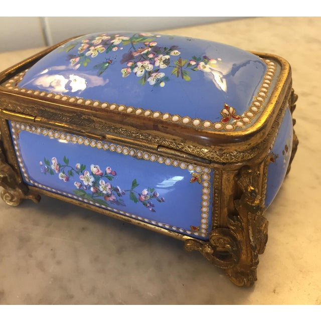The School of Paris 1885 Bronze Gilt and Hand Painted Enameled Cofferette For Sale - Image 3 of 12