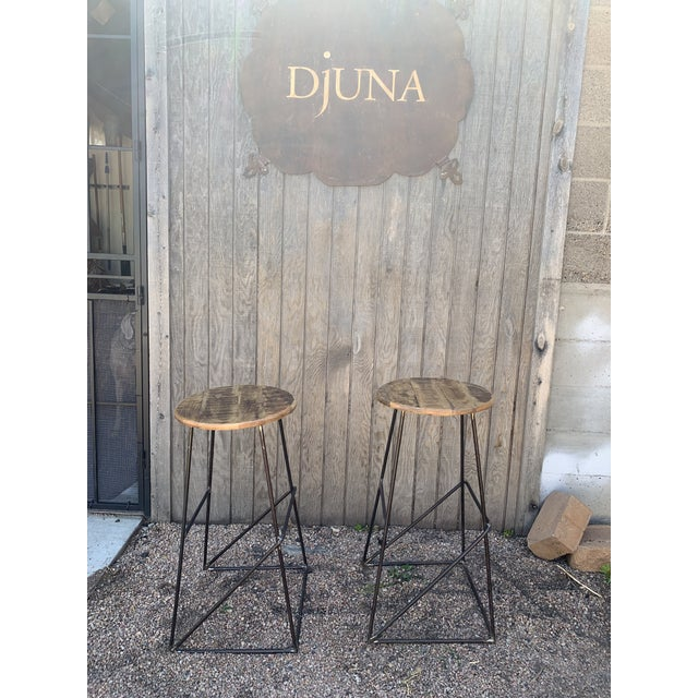Modern Kalalou Rustic Wood and Metal Bar Stools- a Pair For Sale - Image 9 of 13