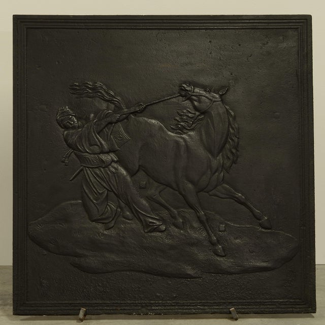 Fireback Displaying a Man Taming a Horse, 19th Century For Sale - Image 4 of 4