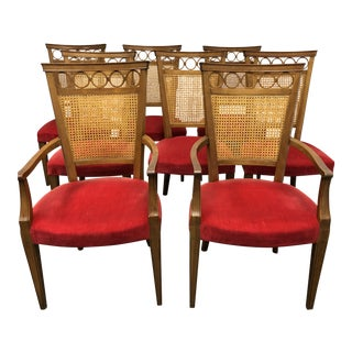 Set of 8 Baker Furniture Caned Back Dining Chairs For Sale