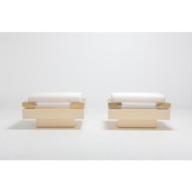 Charles Hollis Jones designed this pair of rectangular poufs or tuffets in the 1970s Lucite or perspex was a revolutionary...