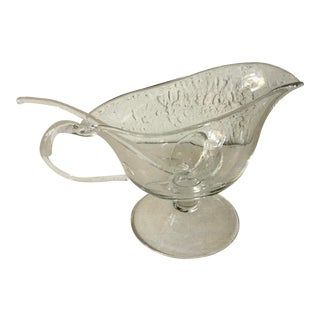 Vintage Crystal Classic Gravy Boat with Ladle For Sale