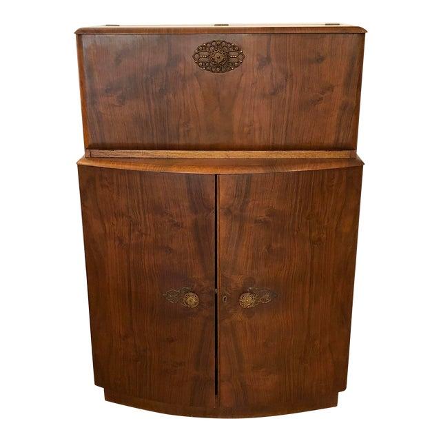 1950s Vintage Drop Door Liquor Cabinet With Mirrors For Sale