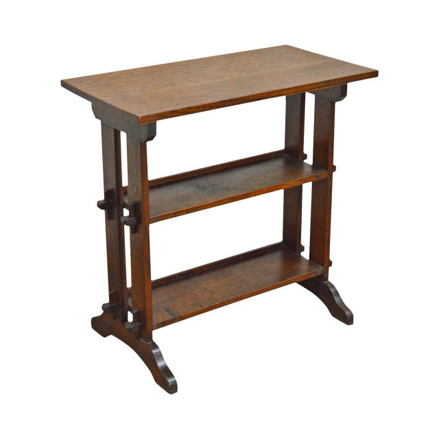 """Roycroft """"The Roycrofters"""" Arts & Crafts Mission Oak Little Journeys Book Stand For Sale"""