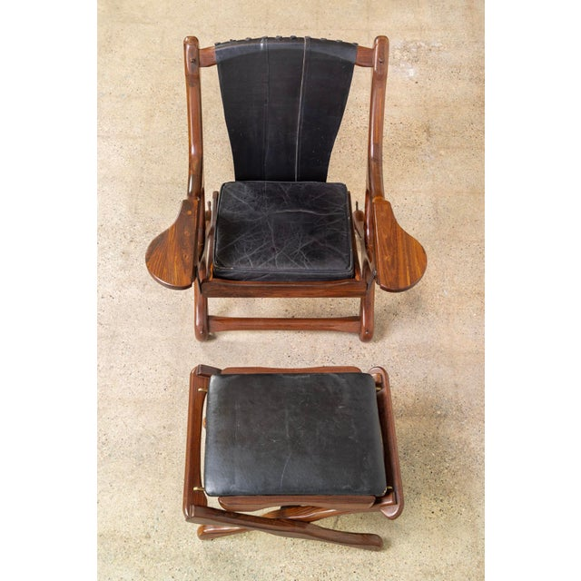 Animal Skin Mid Century Mexican Modern Don Shoemaker Swinger Chair With Ottoman For Sale - Image 7 of 13