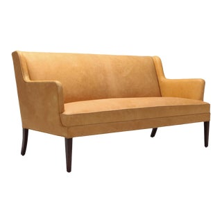 Nanna Ditzel Style Danish Sofa in Camel Leather For Sale