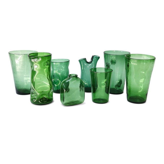 Italian Green Glass Vase by Empoli For Sale In Houston - Image 6 of 8