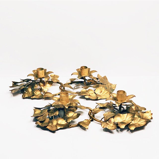 Metal Italian Gold Leaf Candle Holders - a Pair For Sale - Image 7 of 7