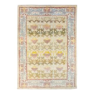 Modern Oushak Handmade Multicolor Vine Scroll Motif Wool Rug For Sale