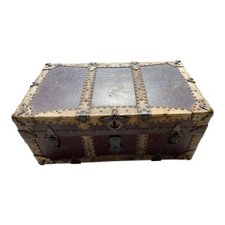 19th Century Antique Leather Trunk by h.c. Faber and Son Co. For Sale