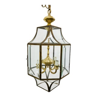 Vintage Glass & Brass Lantern For Sale