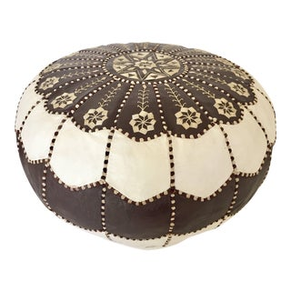 Vintage Moroccan Brown and White Embroidered Round Leather Pouf For Sale
