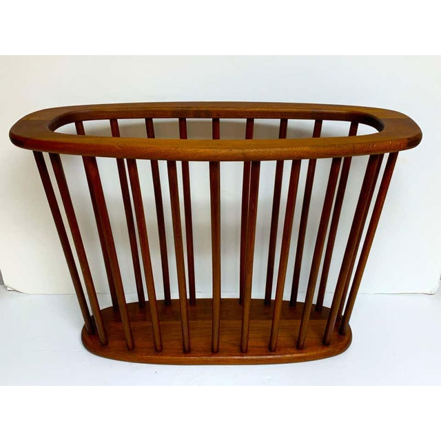 Danish modern oval spindle teak magazine rack, better than most with dovetailed construction. Ready to place.
