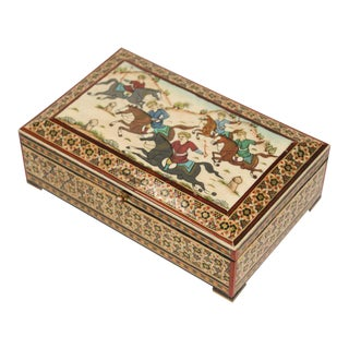 Micro Mosaic Indo Persian Inlaid Jewelry Box For Sale