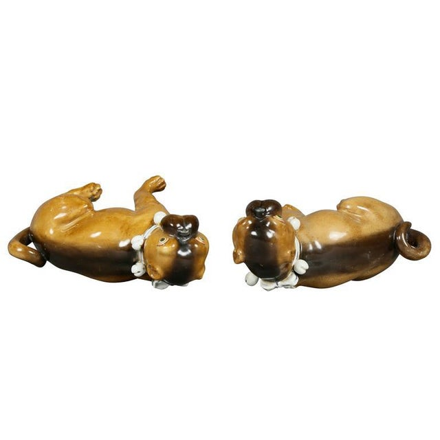 Ceramic Pair of German Porcelain Figures of Seated Pugs For Sale - Image 7 of 9