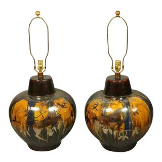 Modernist Drip Glazed Ceramic Lamps - A Pair For Sale
