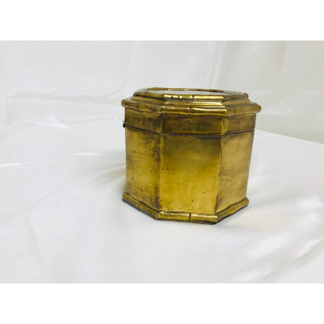 1960s Asian Faux Bamboo Decorative Brass Box For Sale - Image 4 of 8