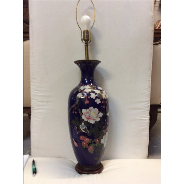 Blue Japanese Cloisonné Lamp For Sale - Image 11 of 11