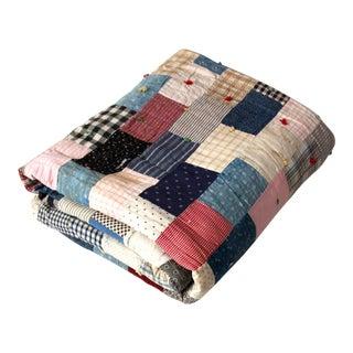 Vintage Hand-Tied Patchwork Quilt For Sale