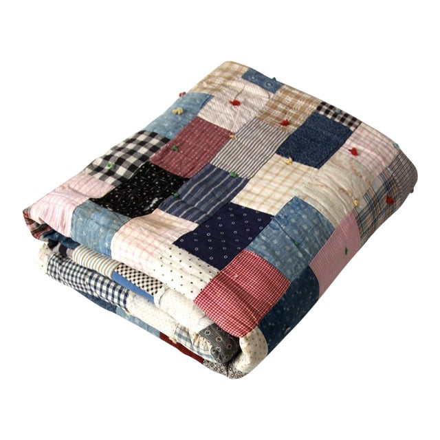 Vintage Hand-Tied Patchwork Quilt For Sale