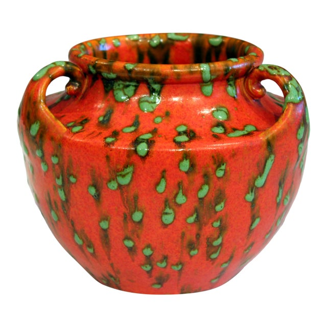 Awaji Pottery Green Spotted Chrome Orange Signed Studio Vase For Sale