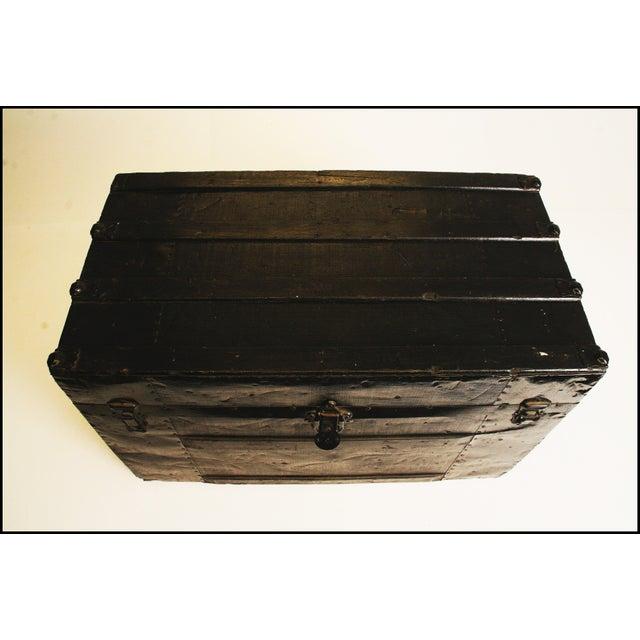 Victorian Antique Black Steamer Trunk - Image 4 of 11