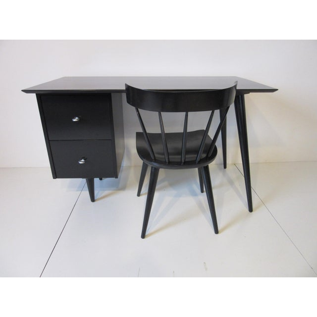 Paul McCobb Black Maple Desk W/ Chair From the Planner Group For Sale - Image 10 of 10