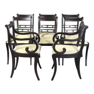 Ebonized Regency Style Dining Chairs - Set of 8
