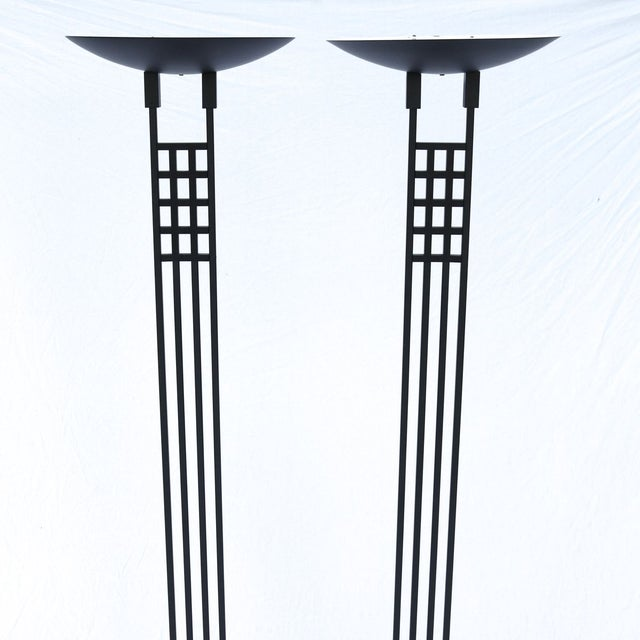 Outstanding vintage torchieres by Robert Sonneman for George Kovacs. Designed in the style of Charles Rennie Mackintosh in...