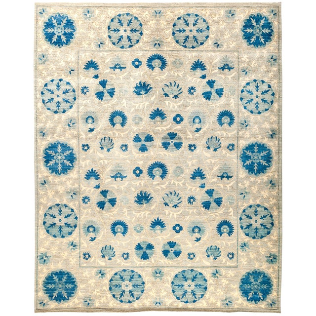 "Suzani Hand Knotted Area Rug - 8'3"" x 10'6"" For Sale"