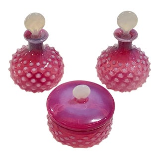 Bohemian Cranberry Glass Vanity Set For Sale