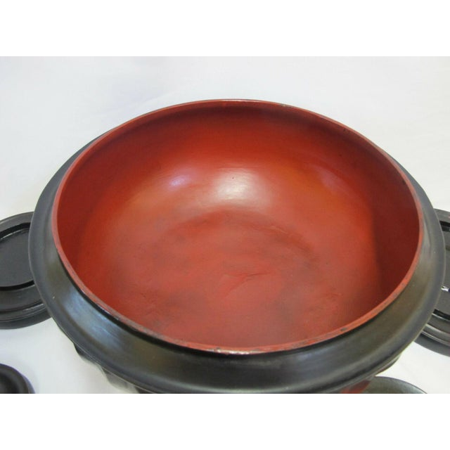 Black 19th Century Antique Burmese Conical Compartment Food Offering Bowls- 7 Pieces For Sale - Image 8 of 12