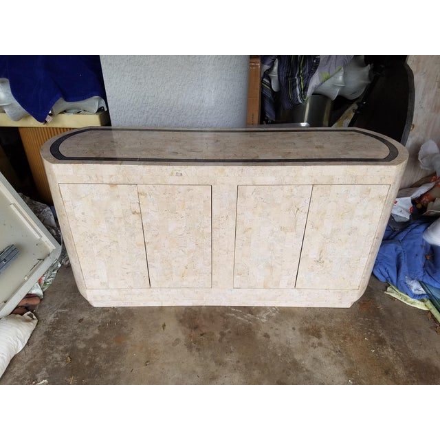 Maitland Smith Style Tessellated Pink Stone Credenza - Image 2 of 8