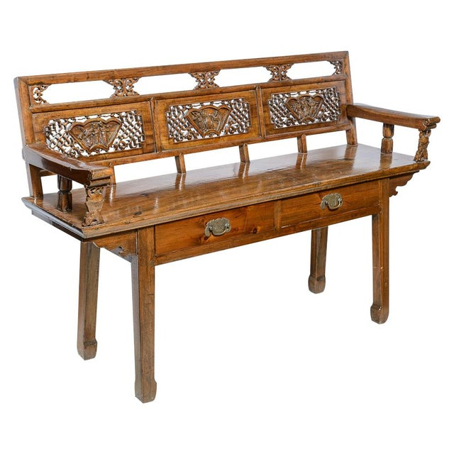 Chinese Elm Wood Bench For Sale - Image 9 of 9