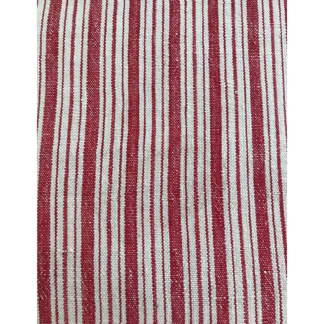 Early 21st Century Vintage French Ticking Stripe Pillow Covers in Red - a Pair For Sale - Image 5 of 8