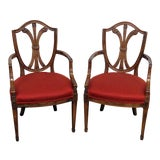 Image of Vintage Mid Century Louis XIV Style Arm Chairs - a Pair For Sale