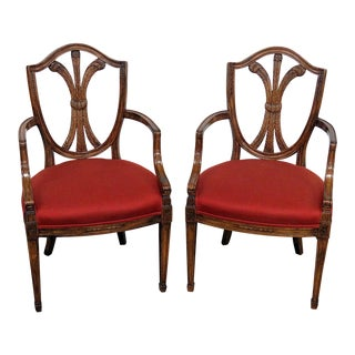 Vintage Mid Century Louis XIV Style Arm Chairs- A Pair For Sale