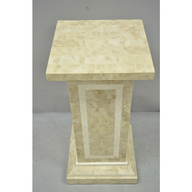 Hollywood Regency Late 20th Century Tessellated Stone Column Pedestal by Marquis Collection of Beverly Hills For Sale - Image 3 of 9