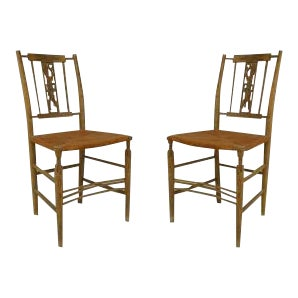 Pair of American Country (1st half 19th Cent) grey painted side chairs