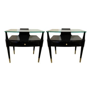 Italian Lacquered and Brass Side Tables by Paolo Buffa - a Pair For Sale