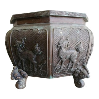 Early 20th Century Japanese Bronze Planter Pot Dragons For Sale