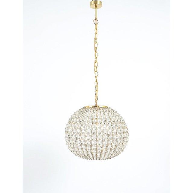 Mid-Century Modern Large Ball Shaped Crystal Chandelier Lamp Austria, circa 1960 For Sale - Image 3 of 5