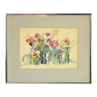 Vintage Finely Rendered Floral Watercolor Painting by Leah Traugott Indiana For Sale