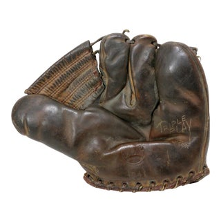 1930s Vintage Leather Baseball Glove For Sale