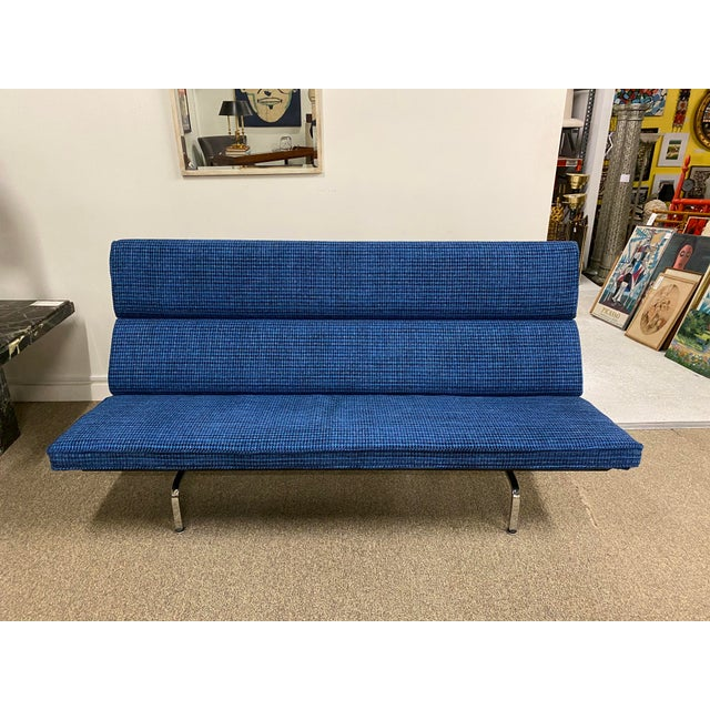 Mid-Century (signed) Eames sofa compact by Herman miller , newly upholstered.