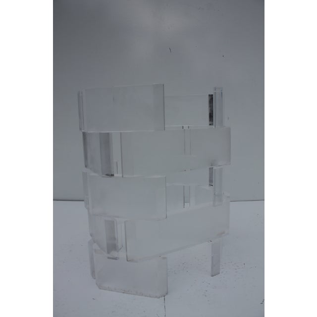 Sculptural Stacked Lucite & Glass Top Side Table - Image 5 of 10